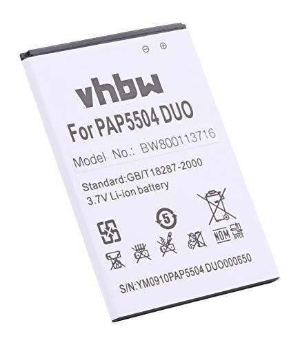 vhbw Li-Ion Akku 2500mAh (3.7V) für Handy Smartphone Telefon Prestigio MultiPhone 5504 Duo wie PAP5504 Duo, PAP5504DUO.