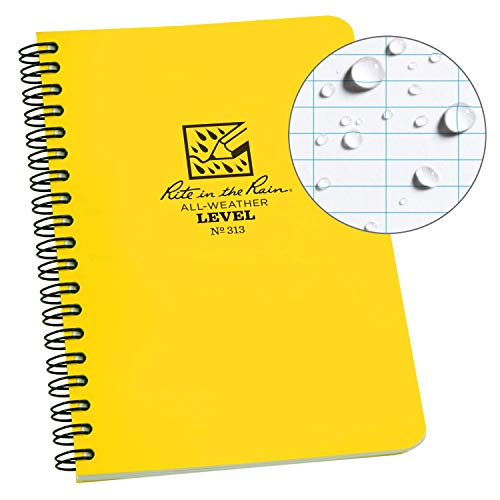 """Rite in the Rain All-Weather Side-Spiral Notebook, 4 5/8"""" x 7"""", Yellow Cover, Level Pattern (No. 313)"""