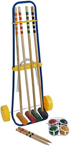 Garden Wooden Croquet Game Childrens Fun Set, Lawn Outdoor - 4 Mallets, 4 Croquet Balls, Steel Hoops, Center Hoop & Stand, Kids Ages 3+