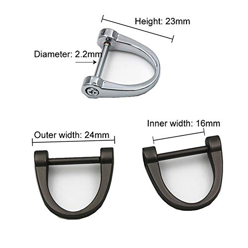 6 Pieces D Rings Screw in Shackle 24mm Horseshoe Buckle Horseshoe Shape D Ring D-Shaped Metal Hoop Locking One Screwdriver Use for DIY Leather Craft Purse Replacement