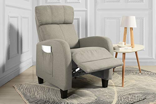 Living Room Slim Manual Recliner Chair (Beige)