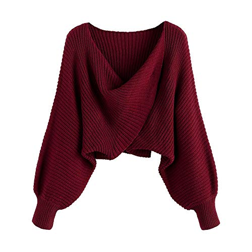Material: Acrylic,Cotton Our Size: S--US 4, M--US 6, L--US 8.Please refer to our size detail in description before ordering V-Neck,Drop Shoulder,Twist Knot,Pullover Type This cute knit V Neck solid color sweater can pair with anytop and your savorite...