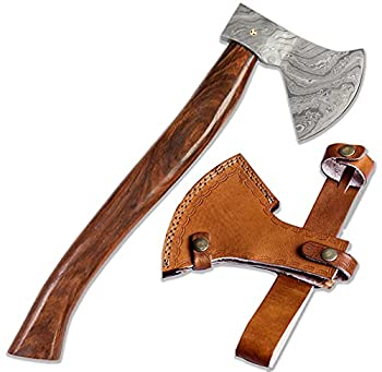Fellmark Camp Axe with Sheath Retk - Camping Essentials Bushcraft Axe - Damascus Steel Small Forest Axe - 16  Rosewood Handle Viking Axe