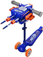 FIRES UP TO 40 FEET! Dual barrel blaster with simple trigger buttons, includes 2 cartridges with 6 darts each PREMIUM 3 WHEEL SCOOTER! Adjustable height, steel frame, extra large rugged PU wheels and easy step brake. COMPATIBLE WITH MANY OTHER NERF P...