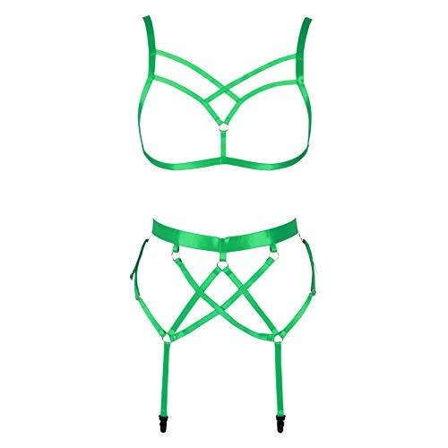 BBOHSS Conjunto de Sujetador Ajustable de Talla Grande con Pentagrama de arns Corporal para Mujer, Disfraz de Halloween de Carnaval gtico Punk de Liga (Verde)