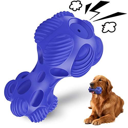 VIEWLON Hundespielzeug-Quitschend-Kauspielzeug Naturkautschuk - Ultra-haltbares Spielzeug Hund nahezu Unzerstörbar, Robuster und Zahnreinigung, Kauknochen für Große, Mittelgroße, Kleine Hunde (Blau)
