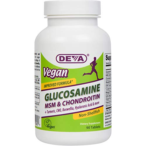 Deva Vegan Glucosamine MSM & Chondroitin, Improved Formula - Plus Hyaluronic Acid, CMO, Turmeric Extract, Boswellia Extract and More with Non Animal Ingredients - 90 Tablets