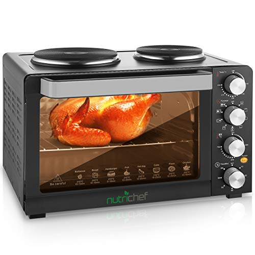 NutriChef Kitchen Convection Electric Countertop Rotisserie Toaster Oven Cooker with...