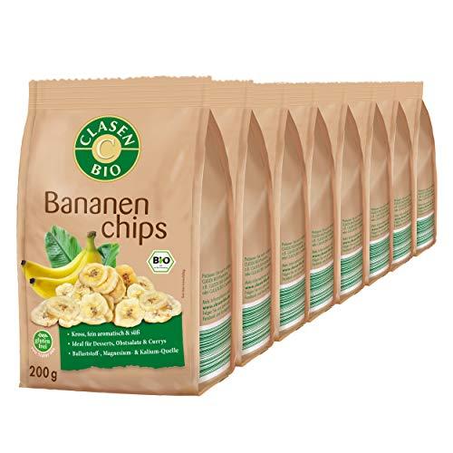 8x CLASEN BIO Bananenchips mit Honig gesüßt, kross und fein aromatisch - 200 g