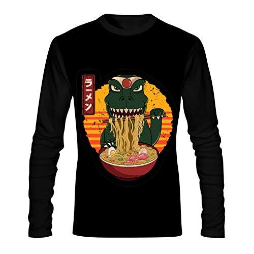 CAPINER G-odz-illa Eat Ramen Mens T-Shirt,3D Graphic Tee Long Sleeves Pullover Sweatshirt Casual Tops L Black