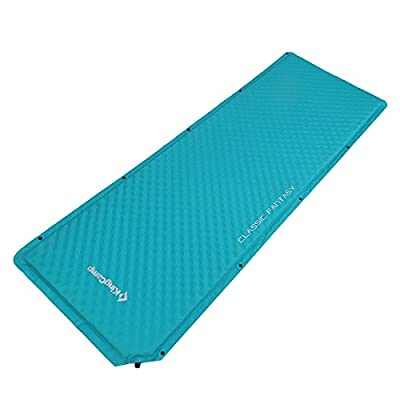 """KingCamp Self-Inflating Sleeping Pad, Triple Zone XL (78""""×24.8"""") Comfort Spliced Portable Mattress with Free Oversize Self-Inflating Pillow, Perfect for Outdoor Adventure (Cyan)"""