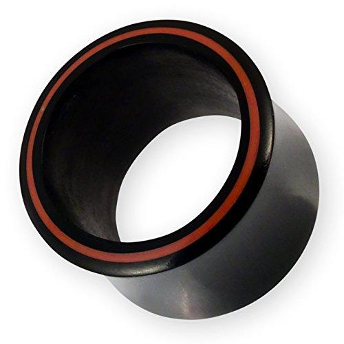 Fly Style - Schwarzer Horn Plug Flesh Tunnel Double Flared mit roter Umrandung - Ohr-Dehner Piercing-Schmuck 1 Stück, Grösse:20 mm