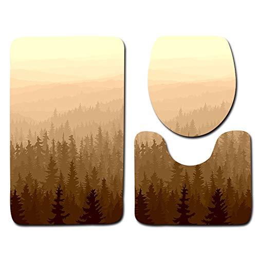 DREAMING-Forest WC Juego De Alfombrillas De Tres Piezas Baño Alfombrilla Antideslizante Alfombra De Puerta Alfombra De Franela 45cm * 75cm