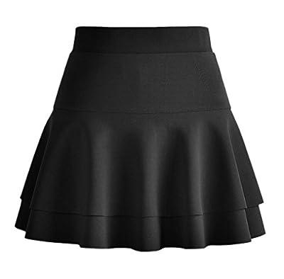 Afibi Casual Mini Stretch Waist Flared Plain Pleated Skater Skirt