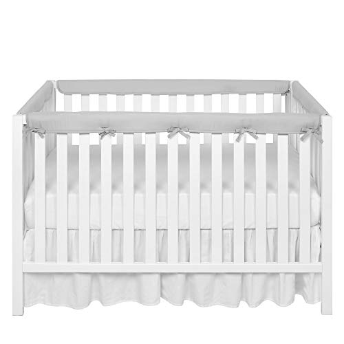 TILLYOU 4-Piece Padded Baby Crib Rail Cover Protector Set from Chewing, Safe Teething Guard Wrap for Standard Cribs, 100% Silky Soft Microfiber Polyester, Fits Side and Front Rails, Pale Grey