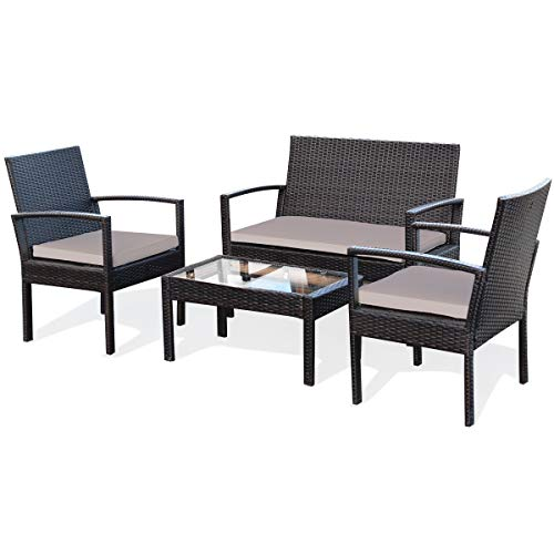 Tangkula 4 Piece Patio Conversation Set, with Glass Coffee Table, Loveseat & 2 Single Chairs, Patio Outdoor Garden Lawn Rattan Wicker Chat Set, Outdoor Furniture Set for Small Places (1, Brown)