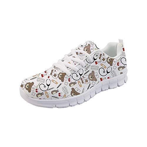 Showudesigns Damen Laufschuhe Turnschuhe Schnurer Sportschuhe Sneaker Weiß Nurse Bear White EU 38