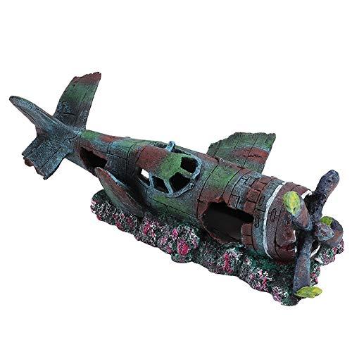 KSTE Hars Wreck oorlogse vliegtuig beschadigde battle pantser met vissen ornament holle decoratie