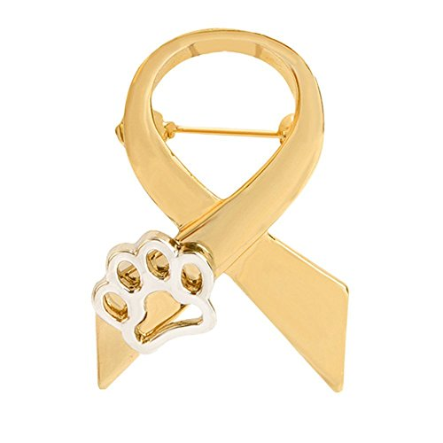 MIXIA Classical Ribbon Brooch Animal Cruelty Awareness Silver Gold Cat Dog Puppy Paw Print Brooch Pin Jewellery Gifts for Women Men Brooches Pin (Gold)