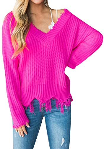 EFOFEI Womens Oversized Frayed Crop Tops Solid Color Loose Fit Sweatshirts Jumper Rose XL