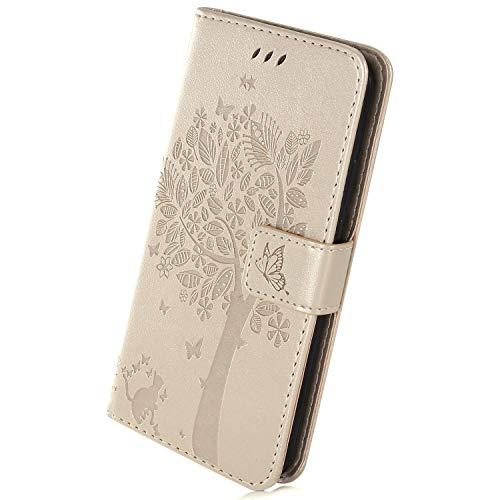Herbests Kompatibel mit Huawei Mate 20 X Hülle Handyhülle Wallet Flip Case Cover Handy-Tasche Prägung Baum Katze Schmetterling Leder Hülle Tasche Schutzhülle Magnetisch Klapphülle, Gold