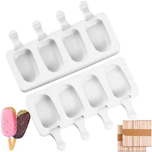 Molde de helado, molde de silicona para paletas de helado, para niños, de grado alimenticio, para postres y chocolate, 2 moldes y 100 palitos