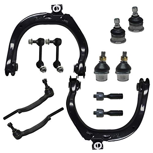 Detroit Axle - 12PC Front Upper Control Arms w/Ball Joint, Sway Bar, Inner and Outer Tie Rod Kit for 2004-2007 Chevy Trailblazer/Buick Rainier/GMC Envoy/Isuzu Ascender