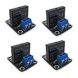 HiLetgo 4pcs 5V 1チャネルヒューズ付き高レベルソリッドステートリレーモジュールDC制御AC 240V 2A
