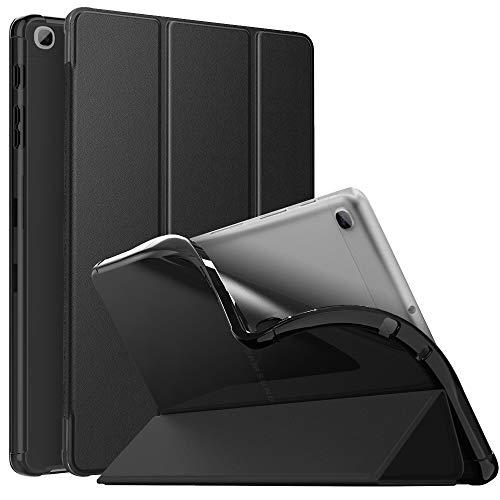 MoKo Funda Compatible con Samsung Galaxy Tab A7 Lite 8.7-Inch 2021 Tableta, Cubierta Protectora Plegable Inteligente Ultra Delgada TPU Trasera Transparente con Soporte Triple, Negro
