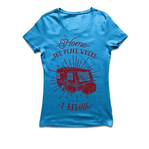lepni.me Camiseta Mujer el Lugar al Que pertenezco - Caravana, campista - Desierto, Salvaje y Feliz día de Fiesta, Naturaleza, Playa, Camping Forestal (Small Azul Multicolor)