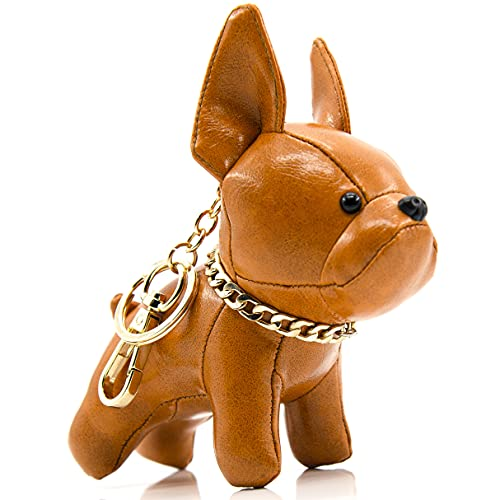 French Bulldog Keychains for Women, SALTY FISH Cute Keychain Accessories for Car Key Chain Ring Bag Charm,Birthday Gifts for Women Men Girls Mom Dad Kids Dog Lover (Bright Brown)