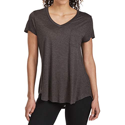 Tresics Femme Women's Basic Pocket Rayon V-Neck Short-Sleeve Tee Black XL