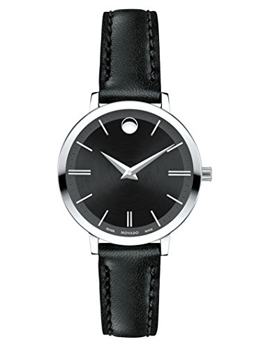 Movado Ultra Slim Black Dial Leather Strap Ladies Watch 0607094