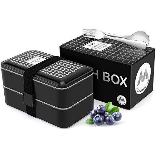 Millennium RK Lunchbox mit Edelstahlbesteck und Mehreren Fächern - Lunchbox in Schwarz für Freizeit & Büro mit Trennwand - BPA frei Gefrierfach & Mikrowellengeeignet - 1200 ml