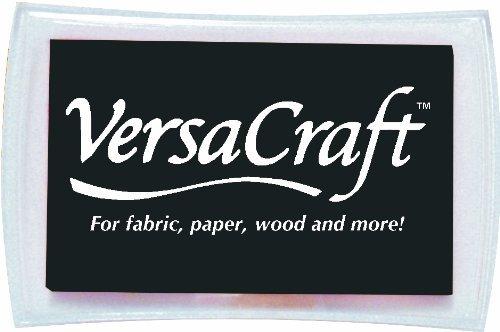 Tsukineko Full-Size VersaCraft Fabric and Home Decor Crafting Pigment Inkpad, Real Black by Tsukineko