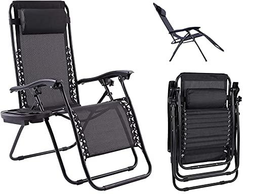 Schwarz Klappbar Strandstuhl Campingstuhl Liegestuhl Mit Getränkehalter Sonnenliege Gartenstuhl Armlehne Atmungsaktiver Netzstoffrückenlehne Verstellbar Rückenlehne Relaxliege Gartenliege