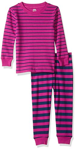 Amazon Essentials Baby Girl's Long-Sleeve Tight-Fit 2-Piece Pajama Set, Fuschia/Navy Stripe, 18-24M