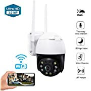 Aouevyo PTZ Outdoor Camera WiFi Security IP Camera 3MP Home Surveillance Camera 2.4G Pan Tilt Dome Camera Motion Detection Alert 33ft IR Night Vision, Waterproof IP66 With Two-Way Audio Outdoor Wireless Security Camera for Home/Office/School/Shopping Mall