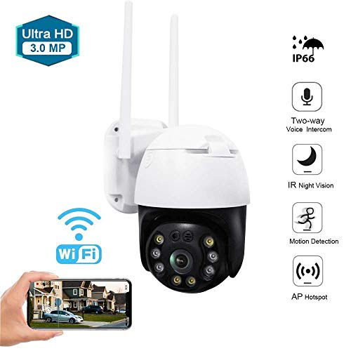 Aouevyo Outdoor Security Camera PTZ Outdoor Camera WiFi Security IP Cam 3MP Home Surveillance Camera 2.4G Pan Tilt Dome Camera Motion Detection Alert 33ft IR Night Vision,Waterproof IP66,Two-Way Audio