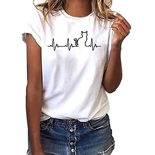 Xinxinyu Bluse Estivi Maglietta Manica Corta Donna Casual Stampa ECG- Camicia T-Shirt Sportivi Vintage Cotone Stretch Maglione Tumblr Elegante Estiva Particolari (S, Gatti White)