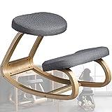 DHFD Kniehocker Ergonomisch für das Büro, Kniehocker Kniestuhl Ergonomisch, Linderung von Nacken und Beinermüdung, Home Office Möbel Ergonomischer Schaukelstuhl aus Holz, Grau