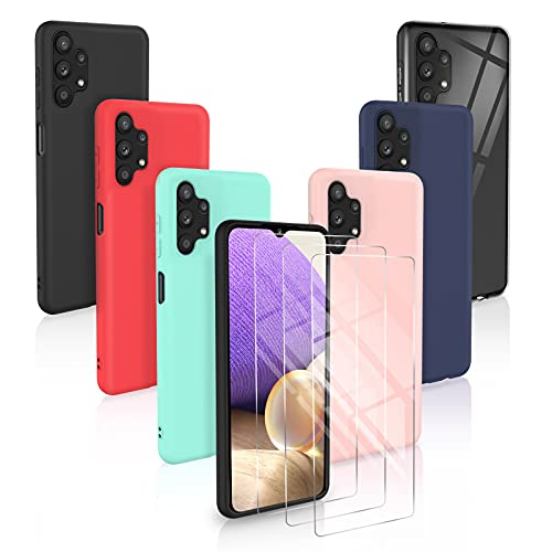 [9 Pack] 6 Funda para Samsung Galaxy A32 4G + 3 Pack Cristal Templado, 6 Unidades Caso Juntas Fina Silicona TPU Flexible Colores Carcasas - Transparente, Negro, Rosa, Azul Oscuro,Menta Verde, Rojo