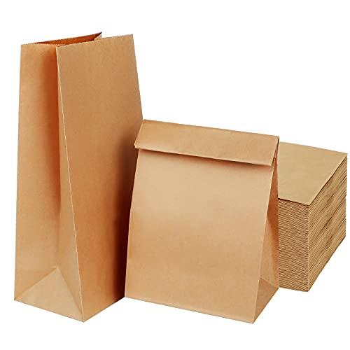 Bolsas Papel Kraft,Bolsas de Papel Grandes,Bolsas Regalo,Bolsas Papel Bocadillos(50 paquetes,20 × 12,5 × 30,5 CM)