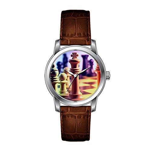JLS - Reloj de pulsera para hombre, diseño vintage, correa marrón, correa de cuero, juego de ajedrez, relojes