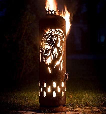 Mandelu Feuerstelle Feuertonne Löwe brüllend