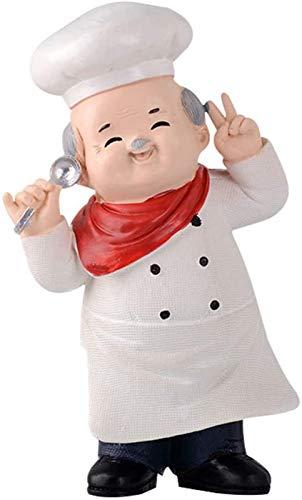 JJDSN Figura de Chef Bienvenida Chef Estatua Resina Figura Humana Juguete Escritorio Chef Escultura Mesa Decorativa Cocinero Chef Juguete para el hogar Bar Tienda Estilo 2