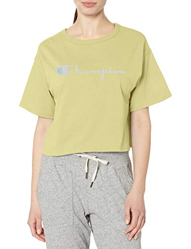 Champion Damen Heritage Cropped Tee Hemd, Zitronengletscher, X-Groß
