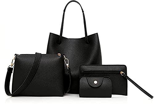 YUESUO 2021 Bolso de mano para mujer, juego de 4 bolsos de mano, bolso de piel, bolso bandolera, monedero, tarjetero, bolsa de la compra, bolsa de regalo, color Negro, talla Small