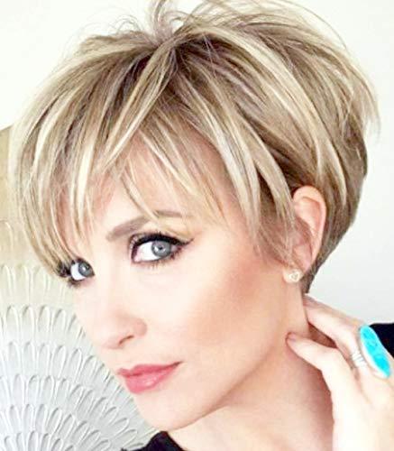 Queentas Peluca de pelo natural de capa corta con flequillo sintético de color rubio mezclado, resistente al calor, pelucas completas para mujeres y niñas