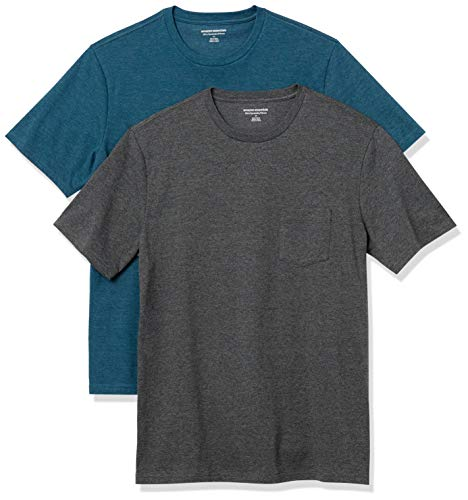 Amazon Essentials 2-Pack Slim-Fit Crew Pocket Fashion-t-Shirts, Teal Heather/Charcoal Heather, US L (EU L)